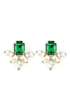 Deco Aife Earrings in Emerald on Emma Stine Limited