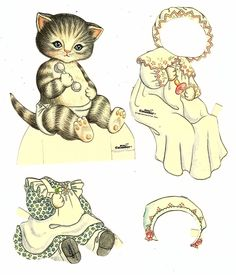 Kitty Cucumber Cats Paper Cutouts Six Clothes Items Plus Kitty by Judy Johnson | eBay