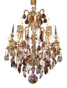 Lustre veneza 16 braos com 95cm de dimetro x 145cm de altura continental dore bronze rock crystal chandelier simply stunning antique lighting on ruby lane aloadofball Choice Image