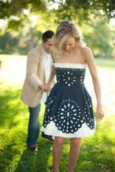 Blue and white country dress...
