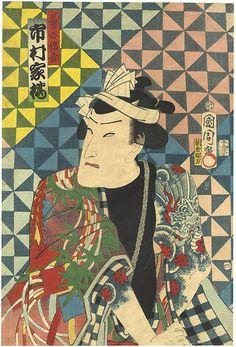 Kabuki Actor Ichimura Kakitsu as Tobi no Denkichi by Kunichika / 鳶の傳吉 市村家橘 国周