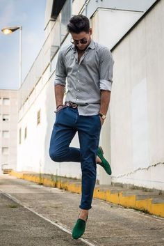 blue chino with printed shirt and green loafer shoes