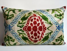Sukan / SALE - Soft Hand Woven - Silk Velvet Ikat Pillow Cover - 16x23 inch - Turquoise, Beige, Blue, Green, Red, Dark Red, Dwell Color