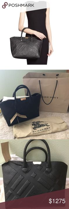 BURBERRY MEDIUM DEWSBURY GRAIN LEATHER Tote NWT Brand new never user. Comes with original dust bag and strap that is inside the bag Embossed checks bring refined character to a scene-stealing tote cast in richly textured leather and finished with a logo-etched goldtone plate.  Top zip closure.  Optional, adjustable crossbody strap.  Interior zip, wall and cell-phone pockets.  Logo-jacquard lining.  Leather. Burberry Bags Shoulder Bags