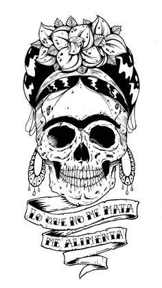Frida Kahlo Tattoos, Frida Tattoo, Calavera Tattoo, Sugar Skull Tattoos, Sugar Skull Art, Calaveras Mexicanas Tattoo, Los Muertos Tattoo, Tableau Pop Art, Skull Coloring Pages
