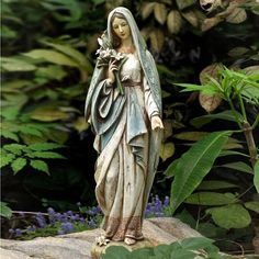 Virgin Mary Garden | Blessed Virgin Mary Mother Madonna Lilies Garden Statue  Hail Holy Queen,