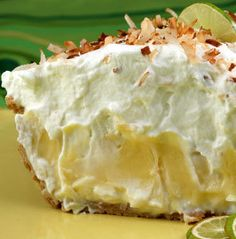 Dorie's Florida Pie is essentially a traditional key lime pie lined with a layer of coconut cream. It is brilliant because that layer of sweet creaminess really balances out the tartness of the Key lime filling.  Mmmm Sounds Delicious!!