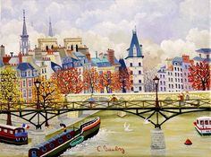 """""""The Paris of Cellia Saubry, french (b. naive oil painter and printmaker. Has exhibited her work since Claude Monet, Figure Painting, Painting & Drawing, Illustrations, Illustration Art, Vincent Van Gogh, Paris In Autumn, Naive Art, French Artists"""