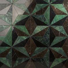 Marble Mosaic, Mosaic Tiles, Mosaics, Wall And Floor Tiles, Wall Tiles, Tile Patterns, Shape Patterns, Green Subway Tile, Black Tiles