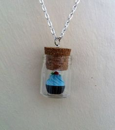 Cupcake in a Bottle Necklace. Bottle size: 4cm x 2.5cm. 20inch silver chain. Custom Sizes and colours Available !! £6.00 #cupcake #jewelry