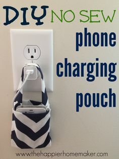 Easy DIY No Sew Phone Charging Pouch- very creative, but be sure you don't weigh your adapter down too much with heavier devices as you don't want to break the prongs.