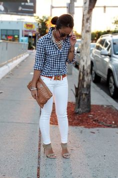 Check Shirt Looks amazing with White Jeans | 25 Modest Check Print Attires To Try This Season | Check Print Attires | Check Print Outfits | Fenzyme.com
