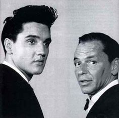 Frank Sinatra and Elvis Presley - Totally different styles, but what terrific singers and entertainers. Your music will live on forever, thanks to both of you. Elvis Presley Videos, Elvis Presley Images, Famous Men, Famous Faces, Famous People, Beatles, Frank Sinatra My Way, Glam Rock, Music Artists