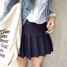 Denim Jacket/ White Button Up/ Dark Blue Tennis Skirt/AA City Tote Bag