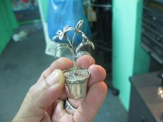 S 33.50g Vintage Miniature FLOWERPOT in 925 Sterling SILVER by spyrinex06 on Etsy