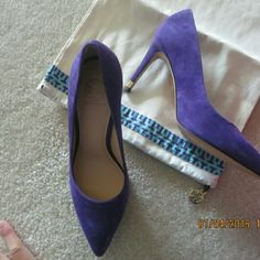 Tory burch suede pumps. Size 7 New in box. Authentic Tory burch. Dust bag, shoe box included. 3.33 inch heels. True to size 7. Royal purple color. Suede upper. point toe, leather lining and sole, padded onsole. Stiletto heel stacked with sleek, petite metal accent in TB's signature goldtone.  No trade. Tory Burch Shoes