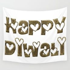 Happy Diwali Festival of Lights Typography Wall Tapestry
