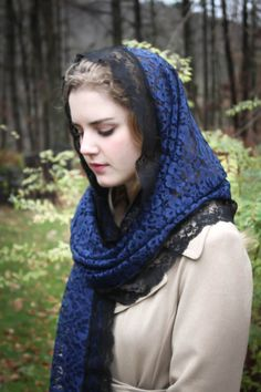 Evintage Veils Lovely Midnight Blue & Black Lace by EvintageVeils