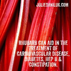 Rhubarb's main health benefits are its ability to promote detoxification, and its power of astringency. An astringent substance is a chemical compound that shrinks or contracts body tissues, thereby diminishing discharges of mucus or blood. Healthy Nutrition, Healthy Foods, Oxalic Acid, Rhubarb Recipes, Body Tissues, Kidney Stones, Food Facts, Good To Know, Planting