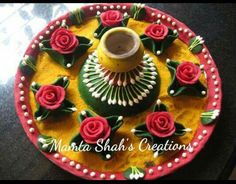 Ganpati Decoration Theme, Arti Thali Decoration, Kalash Decoration, Thali Decoration Ideas, Diy Diwali Decorations, Festival Decorations, Handmade Decorations, Food Crafts, Diy Home Crafts