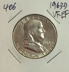 1963-D FRANKLIN HALF DOLLAR VF-EF 90% SILVER COIN FOR YOUR COLLECTION! #406