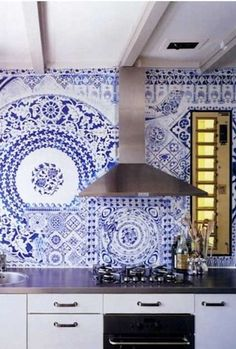 blue and white tiled wall