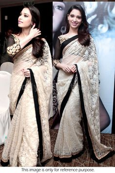 Bollywood Actress Tamanna Bhatia Net Saree in White and Black color