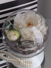 Peony in Fish Bowl with Twigs and Sand - white