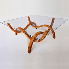 Contour Table - Bamboo, Steel Cable, and Glass - Robby Cuthbert Design
