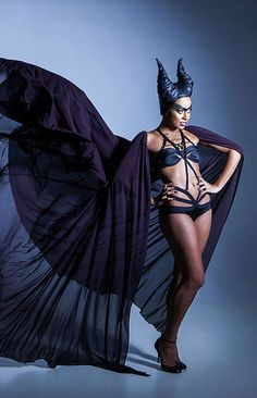 Emma Capponi Corsetiere  Dramatic Black cape with maleficent horns andbordelle lingerie