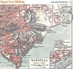 Marseille City Plan, Vintage Map, France.