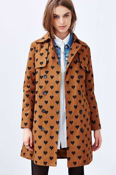 Compania Fantastica Heart Print Belted Trench