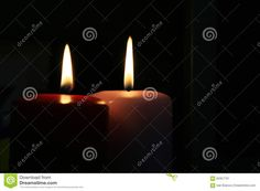 Photo about Two candles on a black background. Image of equipment, aromatherapy, dark - 62357791