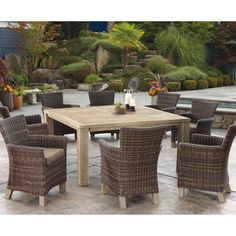 Napa 60 Inch Outdoor Patio Dining Table With 8 Armless Chairs Products In 2018