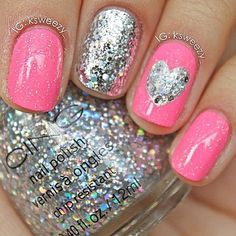 silver glitter heart on pink! so cute | Nail Ideas