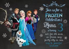 Frozen birthday invitation - Disney's Frozen - Disney Princess - Princess Anna - Elsa -Invite - Chalk - Girl Chalkboard Card - Printable