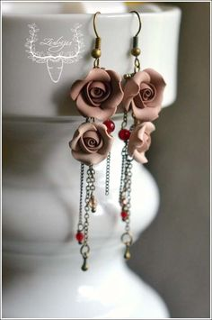 Coffe roses- polymer clay roses, earrings by Zubiju