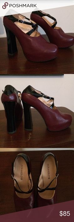 "Fiorangelo Italian-made Platform Pumps Fiorangelo Italian-made, platform pumps, with cross straps. Maroon leather, with black patent leather heel and straps. Leather and rubber sole.  5"" heel, 1.5"" platform. Never worn. Perfect condition. Size 40. Fits like a 9.5. Fiorangelo Shoes Platforms"