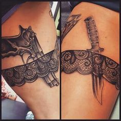 What does garter tattoo mean? We have garter tattoo ideas, designs, symbolism and we explain the meaning behind the tattoo. Dope Tattoos, Trendy Tattoos, Body Art Tattoos, Girl Tattoos, Sleeve Tattoos, Tattoos For Women, Tattos, Thigh Garter Tattoo, Lace Garter Tattoos