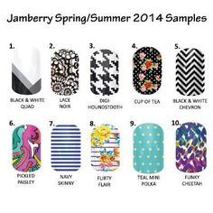 Sample time!! If you have not tried Jamberry nails now is your time to!! Pick a number and stour address and I will pop one in the mail!! Or come ask me how you can have a party and get some wraps for FREE?