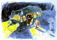 part 2 of 'My Neighbor Totoro' animated movie concept art by creator & director; Miyazaki