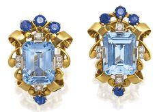 Aquamarine, Sapphire and Diamond Earrings by Tiffany & Co. Cartier Jewelry, Gems Jewelry, High Jewelry, Jewelry Art, Antique Jewelry, Vintage Jewelry, Fashion Jewelry, Jewlery, Sapphire And Diamond Earrings