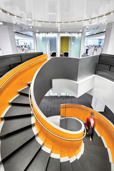 structural steel spiraling staircase in Hachette Book Group's New York office
