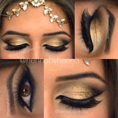 Golden glittered lids and smouldering Egyptian smokey eye look