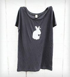 Womens Rabbit Tee | Womens scoop neck 100% organic cotton t-shirt in charcoal with... | T-Shirts