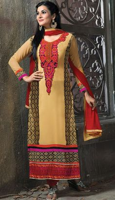 USD 35.16 Beige Faux Georgette Long Churidar Suit 42660
