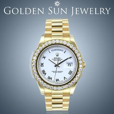 GOLDEN SUN JEWELRY: Rolex Day Date II President with our Russian Cut Pave diamond bezel. Simple and clean is in. #gold #goldwatch #rolex #rollie #bigfacerollie #bigfacewatch #swissmovement #diamonds #diamondwatch #watch #timepiece #president #41mm