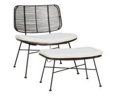 Fauteuil et son repose-pieds, noir et blanc - L65 399€