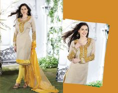 Enigmatic Gold Color & Off White Salwar Kameez | StylishKart.com