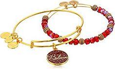 "Amazon.com: Alex and Ani ""Holiday"" Believe Set of 2 Gold Charm Bracelet: Jewelry"